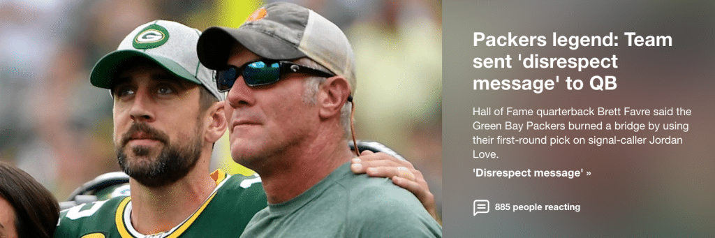 Brett Favre: Packers sent 'disrespect message' to Aaron Rodgers