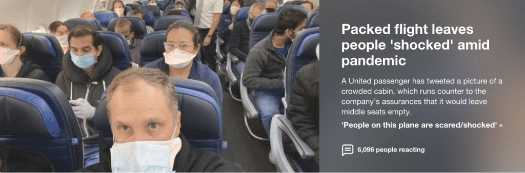 Packed United flight leaves passengers 'scared